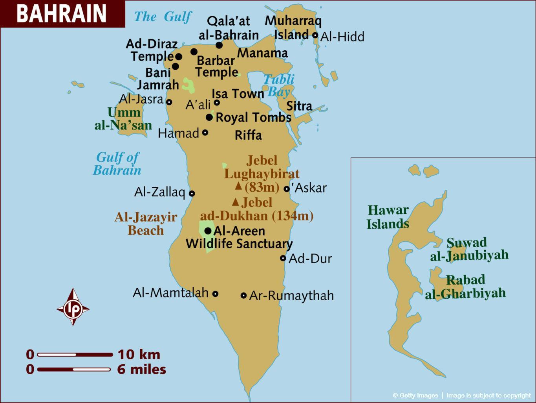 Bahrain Kort Al Bahrain Kort Det Vestlige Asien Asien