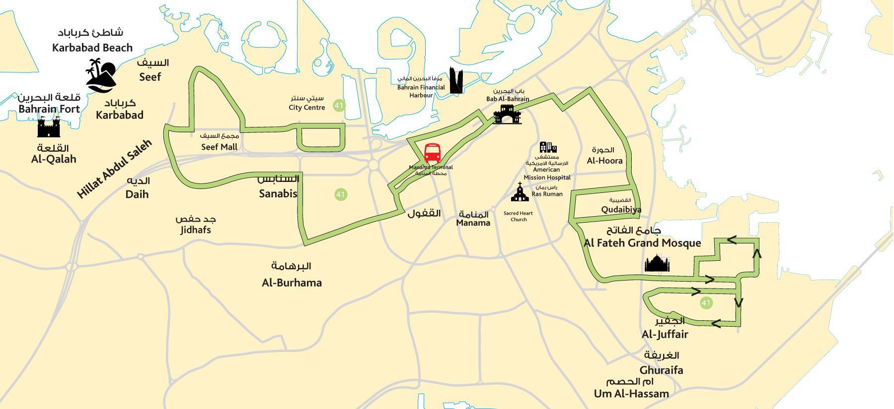 City Center Bahrain Kort Kort Over Centrum Bahrain Det Vestlige
