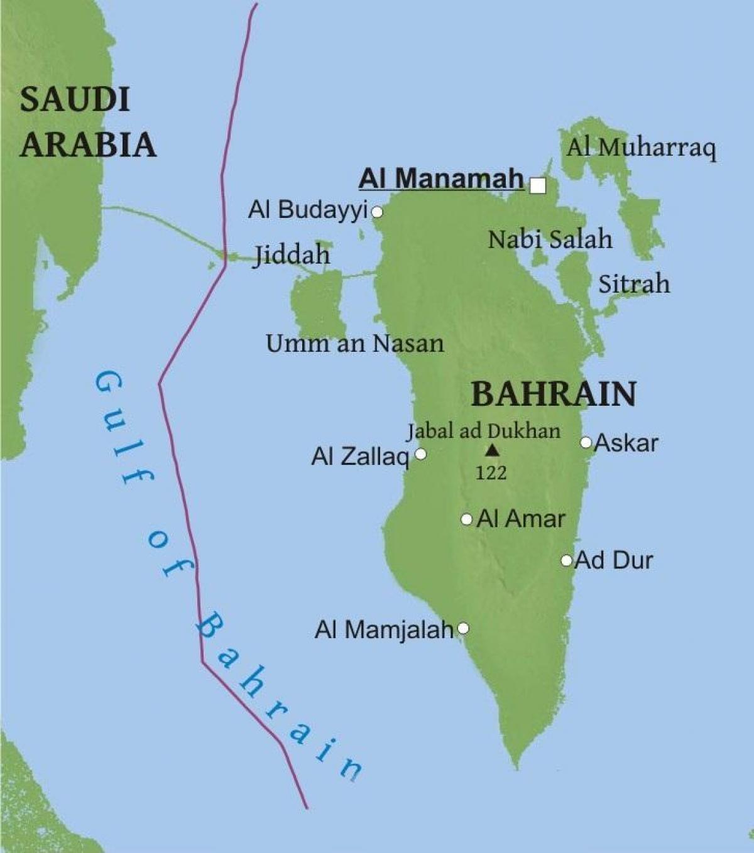 Bahrain Bridge Kort Kort Over Bahrain Broen Det Vestlige Asien